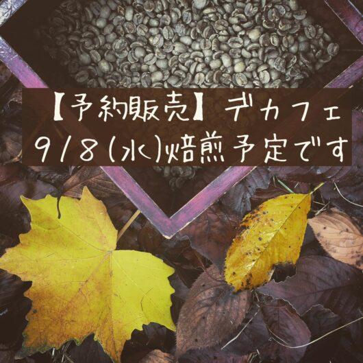 9月8日デカフェ焙煎します